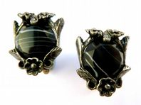 Vintage Miracle Faux Black Agate Arts And Crafts Style Earrings.